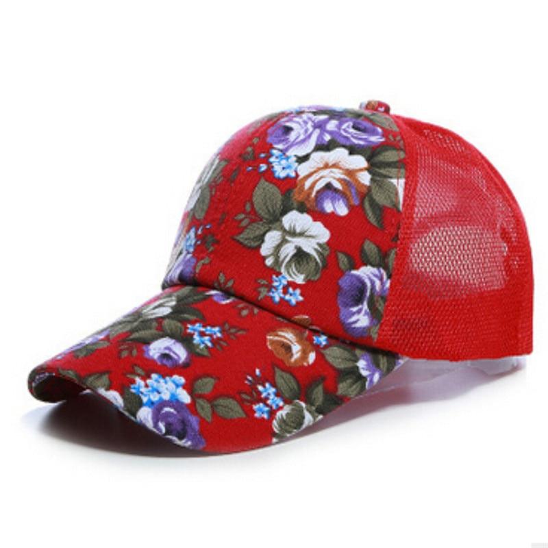 Stylish Summer Style 2017 Women Ladies Floral Adjustable Snapback Baseball Flower Mesh Cap Outdoor Sun Flat Hats