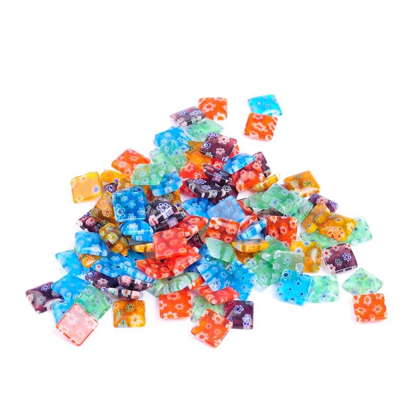 50 unids/lote colores mezclados forma cuadrada cristal esmaltados lampwork Cabochon para la joyería del collar DIY que hace
