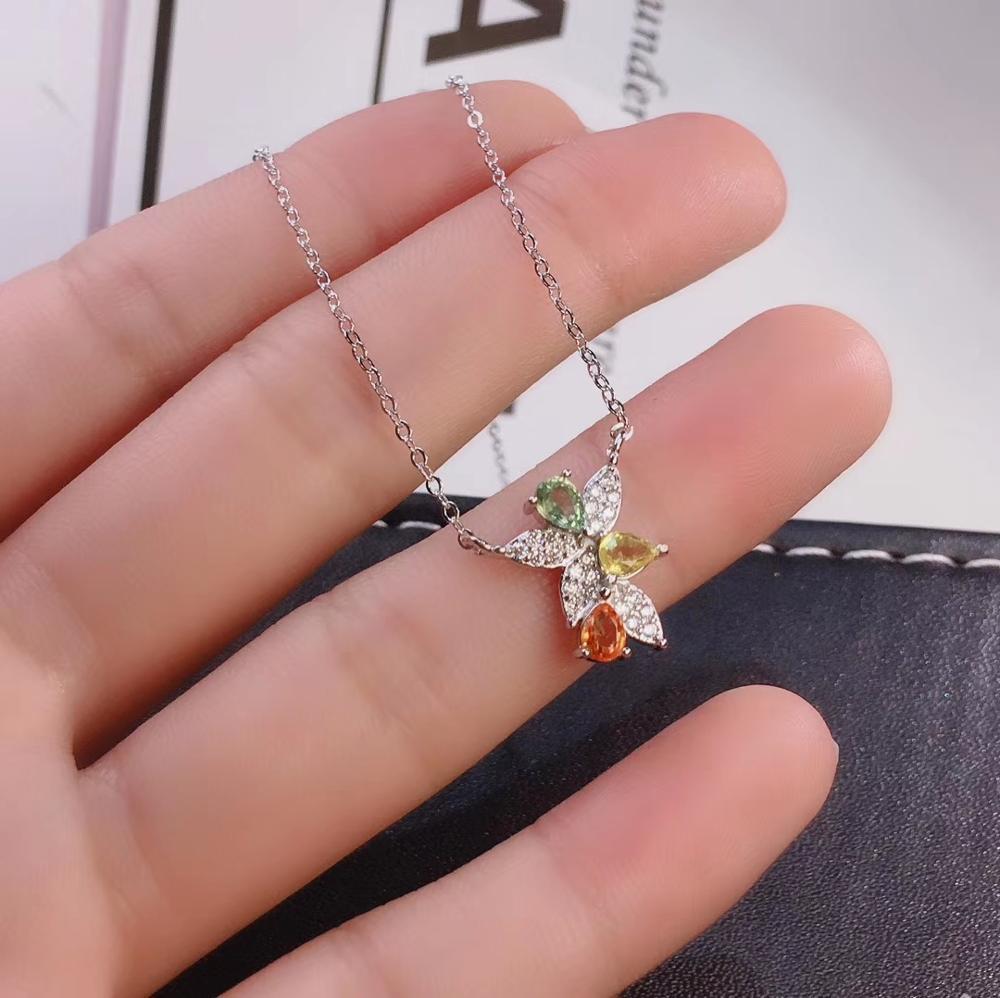 COLLAR COLGANTE de turmalina Multicolor Natural S925 collar de Gema Natural de plata joyería de regalo de mujer de geometría especial bonita