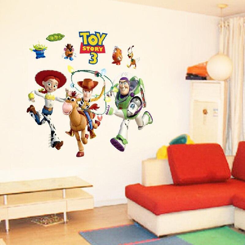 Çocuk yatak odası 3d duvar çıkartmaları oyuncak hikayesi ev dekor çıkarılabilir çocuk odası karikatür anime duvar çıkartmaları