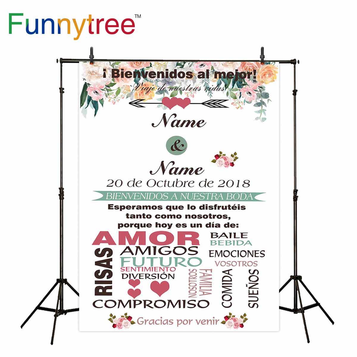 Funnytree fotografía telones de fondo flores tarjeta de invitación blanco personalizado texto flecha sesión fotográfica fondo para fotos de boda papel tapiz