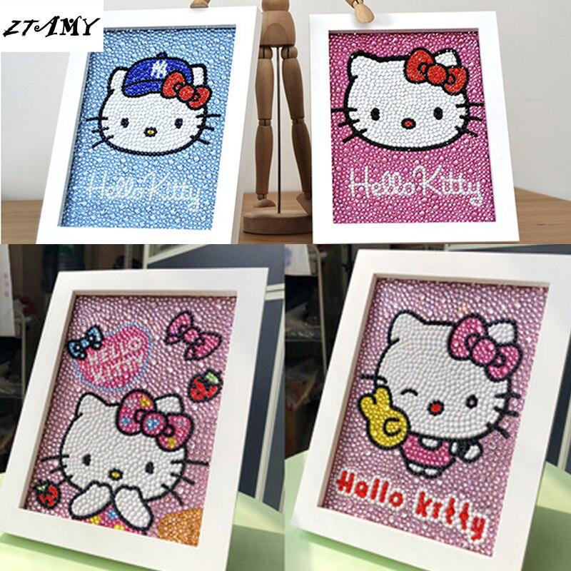5d diy Special shape diamond painting kits crystal painting cartoon Cute cat kt Full Pebble round Diamond Mosaic Children's gift