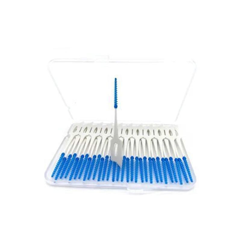 40 stks/doos Zacht Plastic Massage Tandvlees Tandvlees Rager Tandenstoker Tandenborstel Floss Tandheelkundige Flosser Pick Tand Schoon Gereedschap