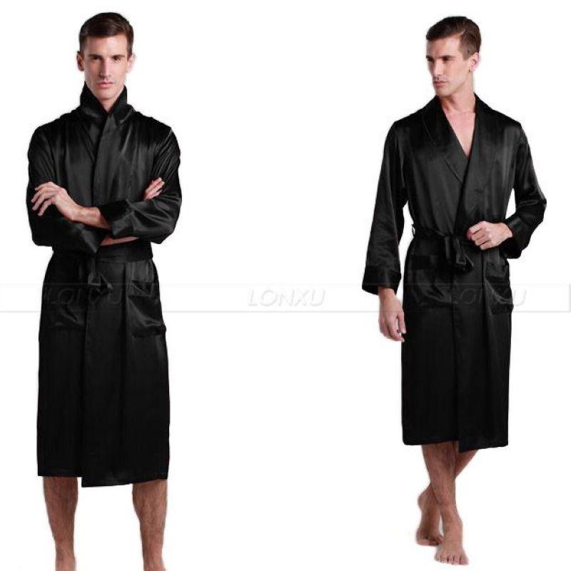 Pijama de satén de seda para hombre, pijama, bata, albornoz, ropa de dormir, ee.uu., M, L, XL, 2XL, 3XL Plus _ 5 colores