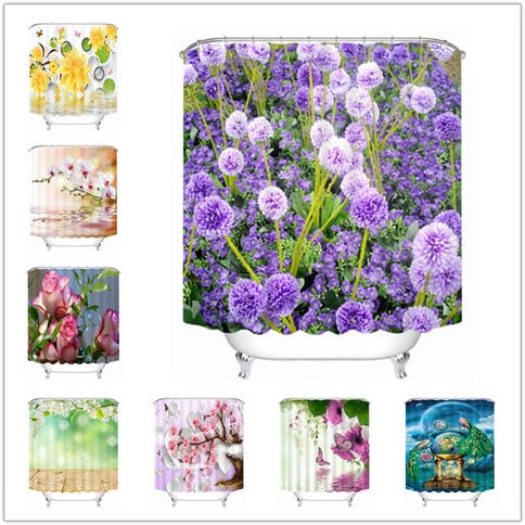 Cortinas de ducha impermeables de alta calidad, productos de baño, colorida flor 3D, cortina de baño, cortina de baño caliente con ganchos de 12 Uds