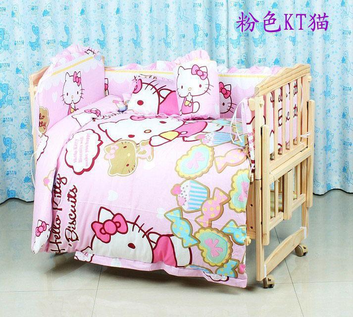 7PCS 100*60/110*65cm Cartoon baby cotton Applique crib bedding set for boys baby bumper (bumper+matress+pillow+quilt)