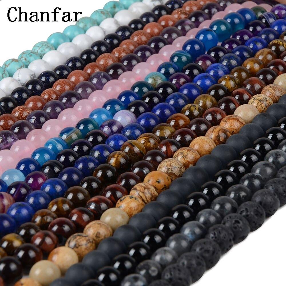 Бисер Chanfar 4 6 8 10 12 мм из натурального камня, черная лава, тигровый глаз, россыпью, для самостоятельного изготовления браслета, ожерелий, ювелирных изделий