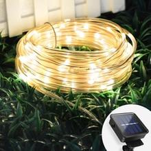 Garland güneş çim lambası açık bahçe ışıkları dekorasyon LED dize peri işık 6M 10M 20M arka bahçe çit noel dekoru işıkları