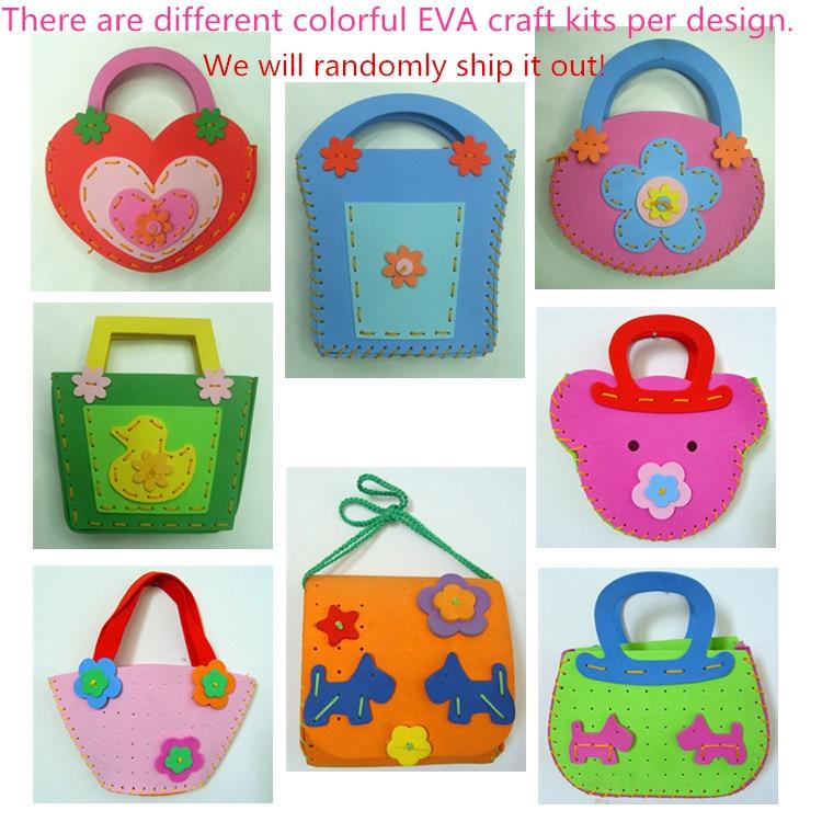 1 piece DIY Handmade Eva Handbag for Kids Sewing Bag Craft kit Learning & Education Toy for Children