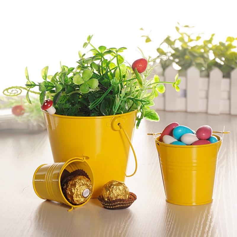 Mini colorido de hojalata de cubos con asas boda fiesta caja de embalaje de caramelo de la caja de regalo macetas de flores a casa de almacenamiento