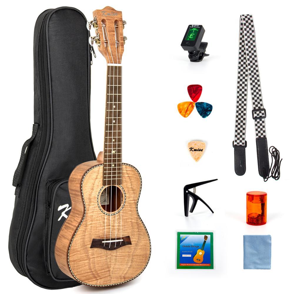Ukelele de concierto Kmise de 23 pulgadas, Kit de iniciación de Ukelele Tiger Flame Okoume, guitarra clásica con correa de sintonizador de bolsa de concierto