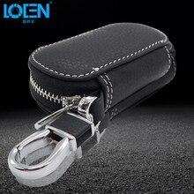 LOEN 1PCS Leather Bag Car Key Case car-styling Car Keychain Key Cover Case wallet For volvo starline Kia Honda BMW Audi Benz