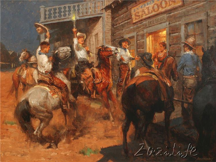 Vaquero pintura al óleo imagen impresa en lienzo 07
