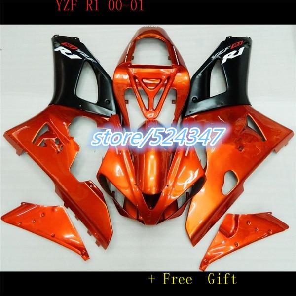 Nn-atacado-carenagem para 2000 2001 yzf r1 YZF-R1 2000-2001 yzf1000 yzfr1 00 01 laranja preto kits de corpo para yamaha