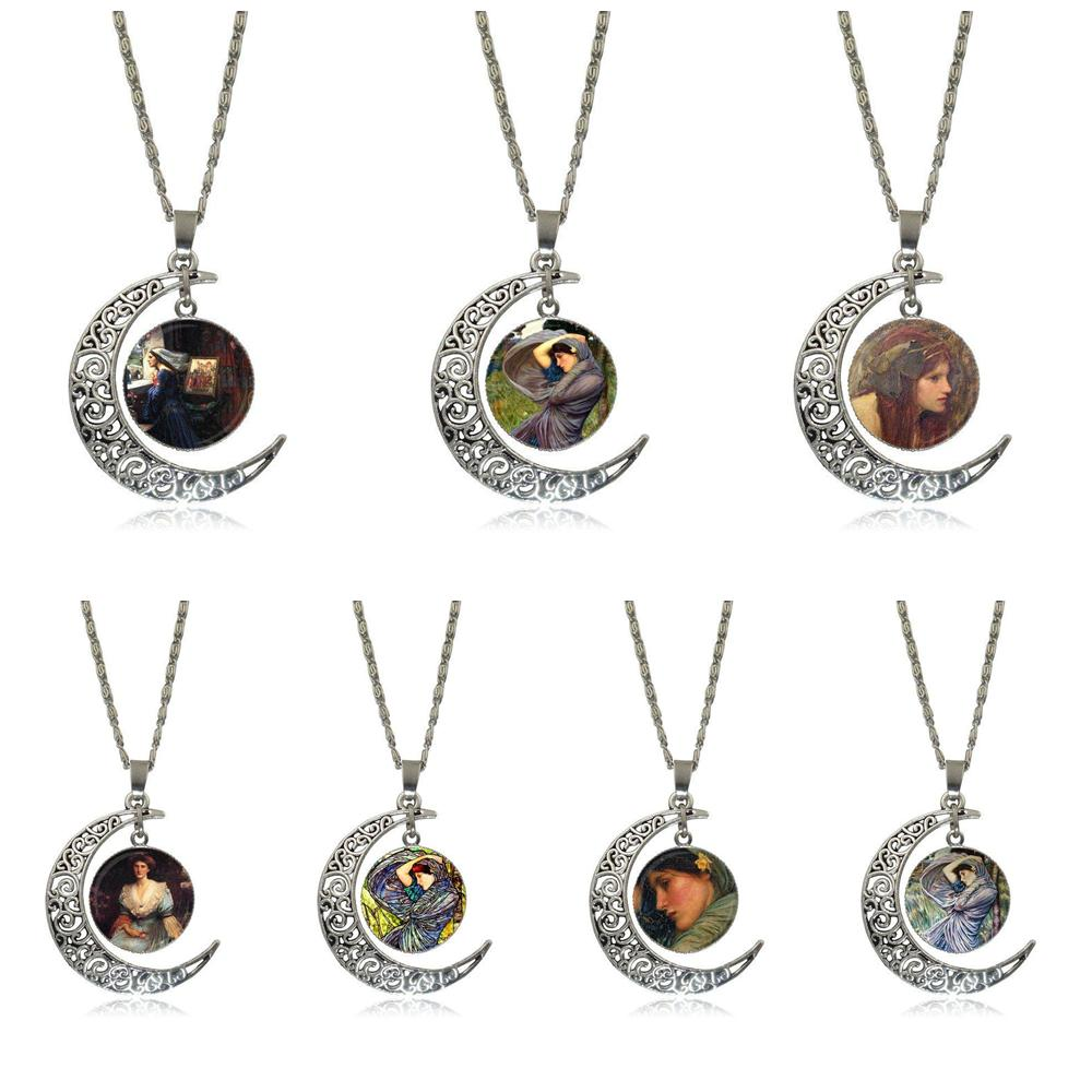 EJ Glaze For Christmas Gift John William Waterhouse Boreas Necklace Fashion Long Chain With Crescent