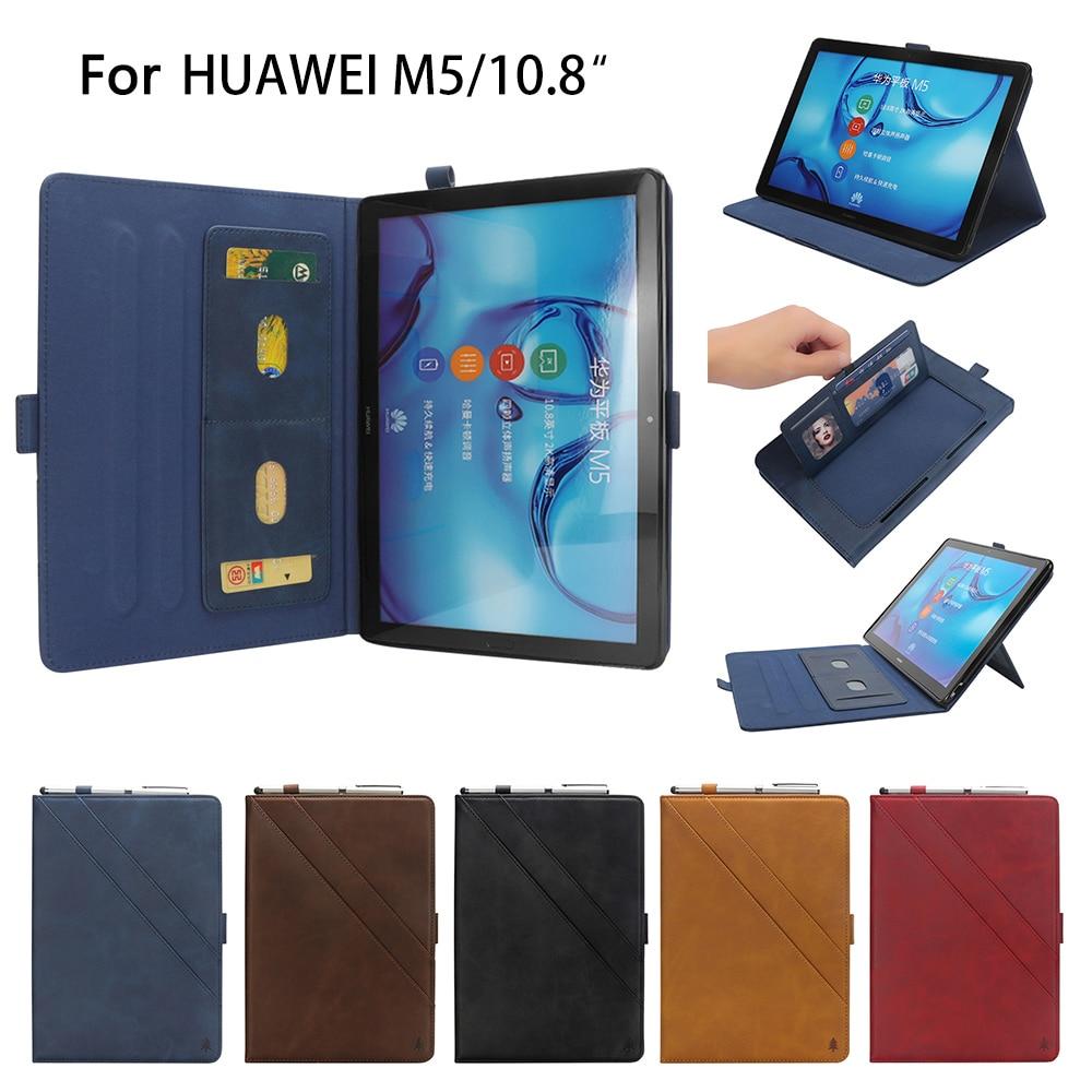 Funda de cuero de primera calidad para Huawei Mediapad M5 10,8 con soporte de lápiz funda cubierta de una pequeña bolsa de almacenamiento con titular de la tarjeta