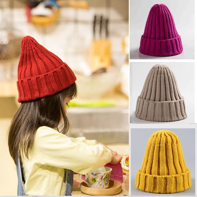 Color sólido de bebé de punto sombrero de invierno sombrero de punto gorro para bebes niñas Beanie gorra enfant