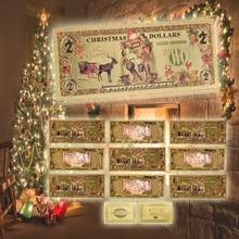 Billets de noël colorés plaqué or américain   Billets de noël colorés, argent en papier, avec carte de vœux, cadeau de noël et de nouvel an