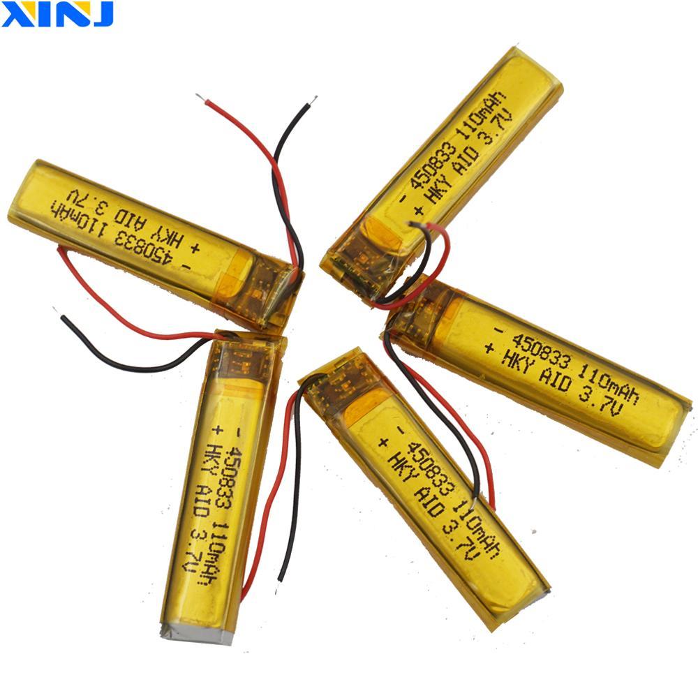 XINJ 5pcs 3.7V 110 mAh Li Polymer li-po Battery cell 450833 For camera DVC headphones bluetooth earphone speaker smart watches
