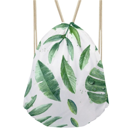 Noisydesigns Folhas Verdes Estilo Havaiano Cinch Saco de Praia Mochila Sacos de Viagem De Armazenamento De Mini Mochilas Para Meninas Saco de Compras