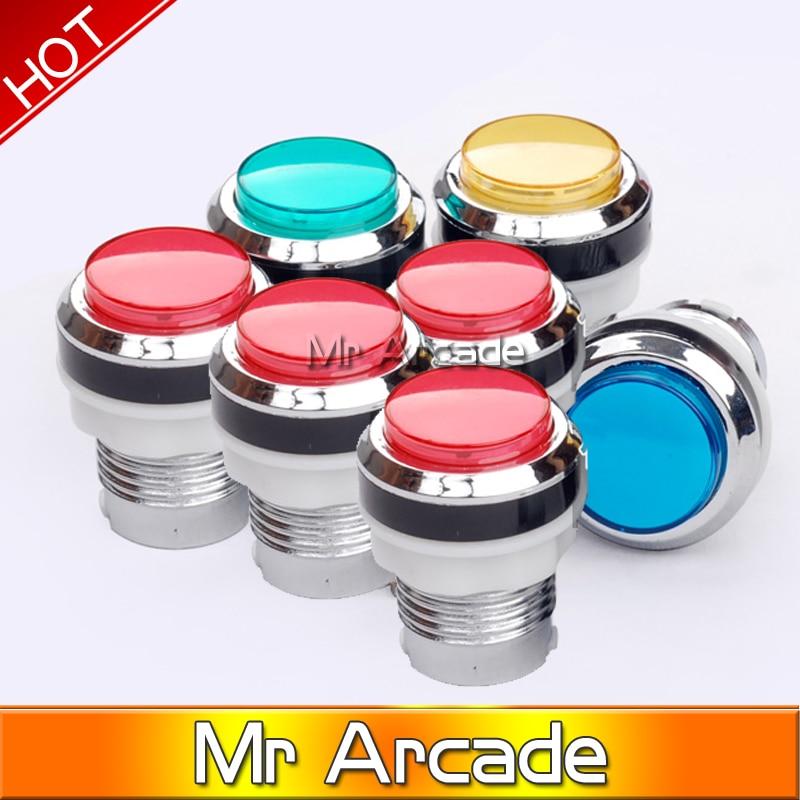 Бесплатная доставка, хромированная подсветка, 12 В, светодиодная аркадная кнопка с микропереключателем, 5 видов цветов, 1 шт.