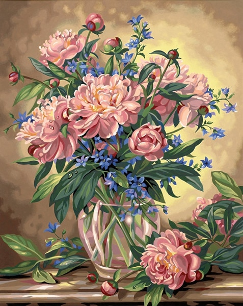 QIUSI needlework cross stitch,set for full embroidery kit,bluebells vase rose daisy flower Print countedpattern cross-stitch