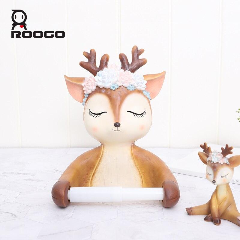 Roogo Cute Deer Head Paper Holder Toilet Ceramic Bathroom Decoration Paper Dispenser Creative Towel Toilet Paper American Style enlarge