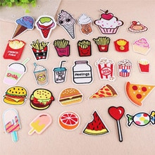 10 pièces bande dessinée patchs vêtements broderie fer sur Applique pour enfants boissons nourriture gâteau Pizza crème glacée puces patchs mignons pour bricolage