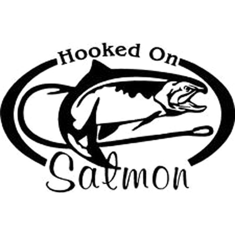 Autocollant de voiture en vinyle   Autocollant de pêche accroché au saumon Coho, tige de moulinet, eau, autocollant de voiture, style de voiture avec argent noir, 10.3CM x CM