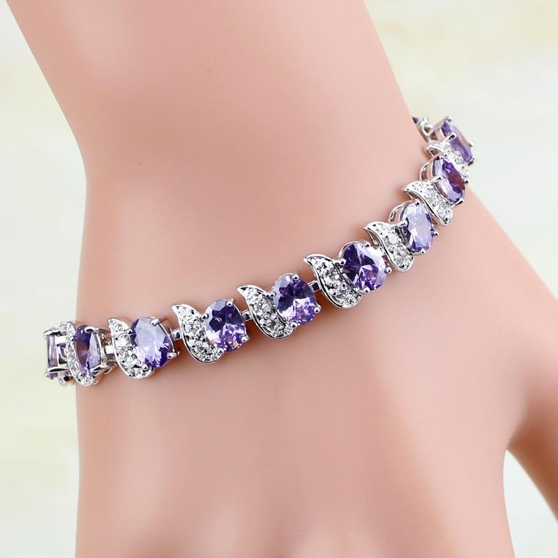 925 Silver Jewelry Mystic Purple Cubic Zirconia White CZ Charm Bracelets For Women Free Gift Box