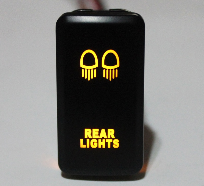 Luces traseras pulsador interruptor naranja LED para Toyota Landcruiser Hilux FJ Cruiser ON OFF interruptor con cable 12 voltios 3Amp