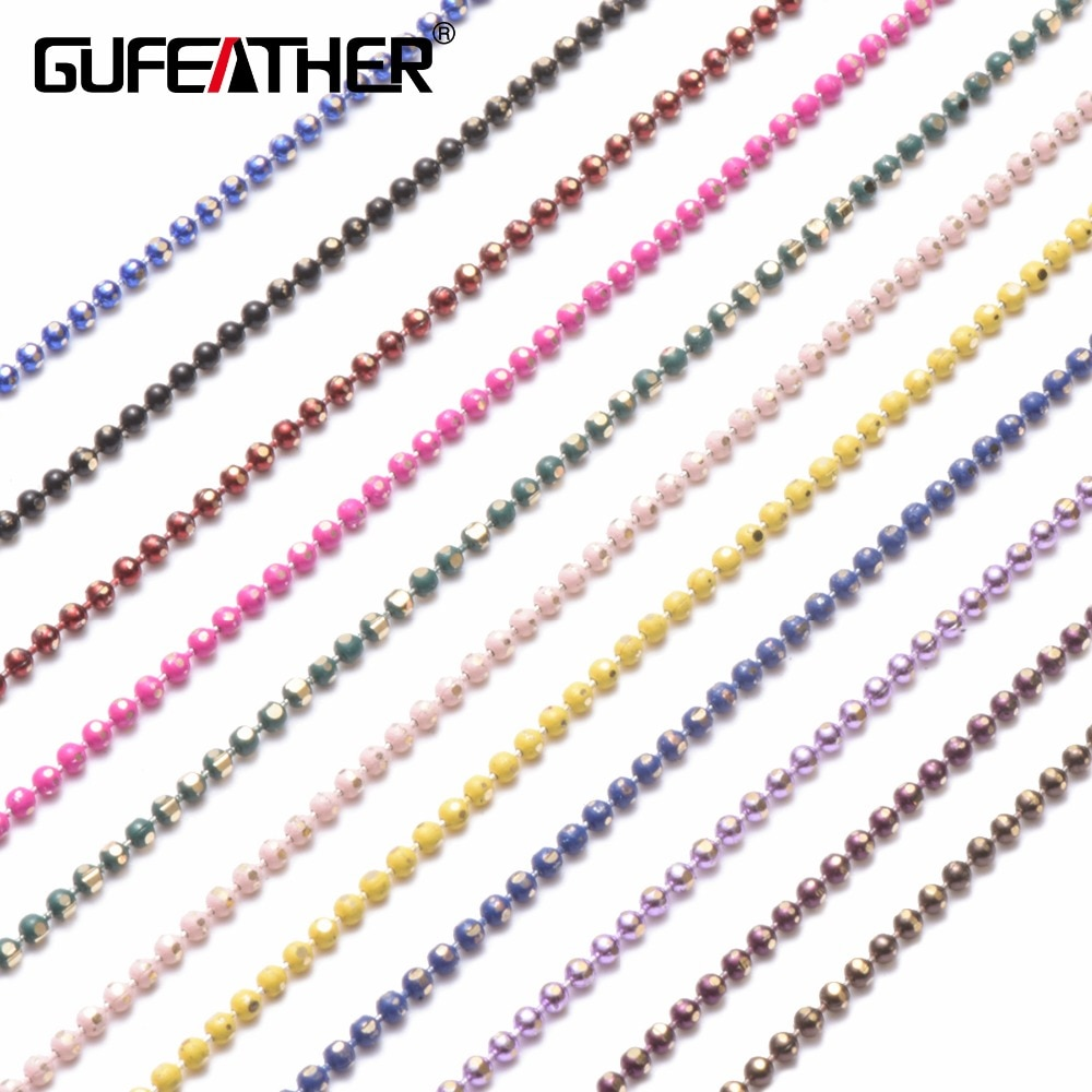 Цепь из бусин GUFEATHER C31, браслет, ожерелье на лодыжку, материал аксессуаров, Размер бусин 1,5 мм, длина цепи 5 м