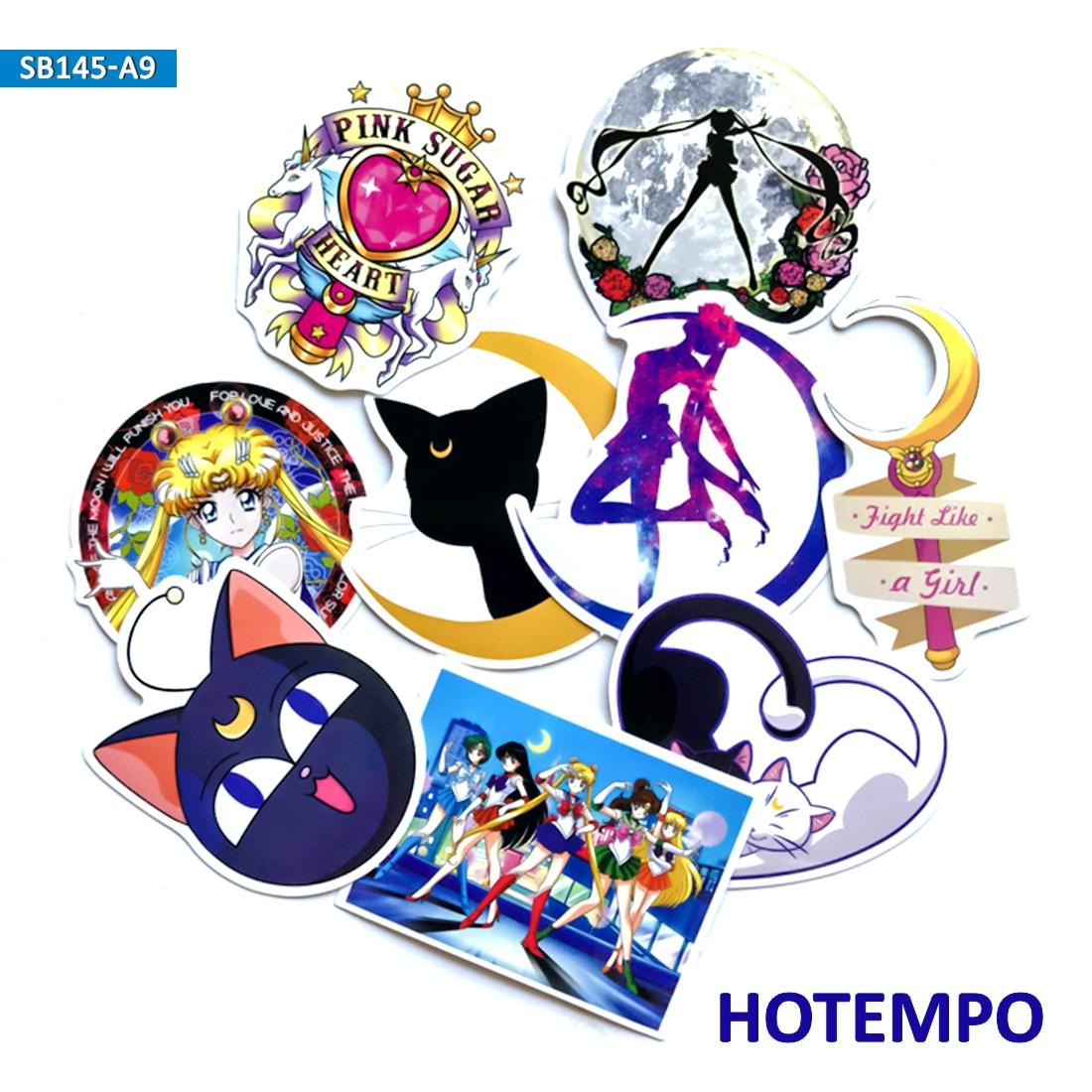 9 Uds. Pegatinas clásicas de Anime Sailor Moon para chica, teléfono móvil para niños, portátil, equipaje, caja de guitarra, pegatinas para monopatín y bicicleta