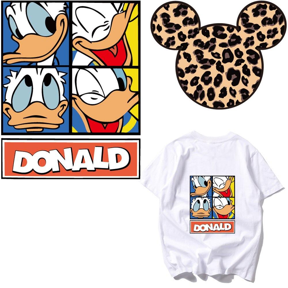 Parche grande de leopardo Mickey Donald, parches para ropa, transferencia de calor para camisetas, parches de planchar, pegatinas de dibujos animados, parches, ropa