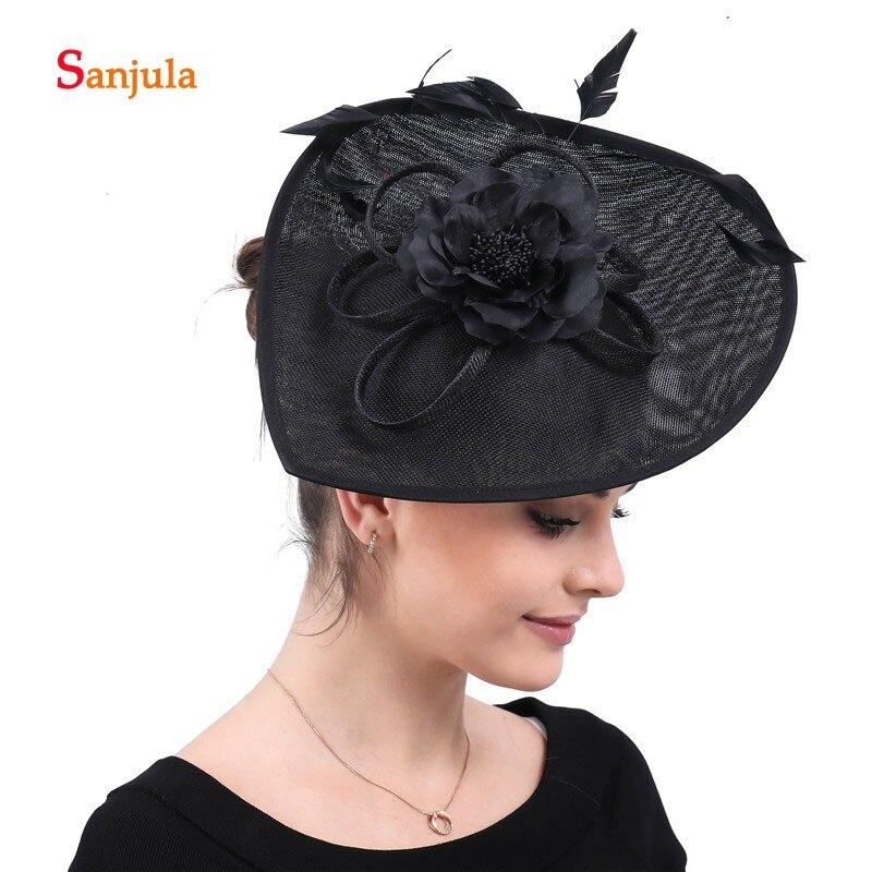 Black Linen Hats for Women Handmade Flowers Feathers Wedding Hair Accessories Hats Headwear for Mother diadema novia boda H185