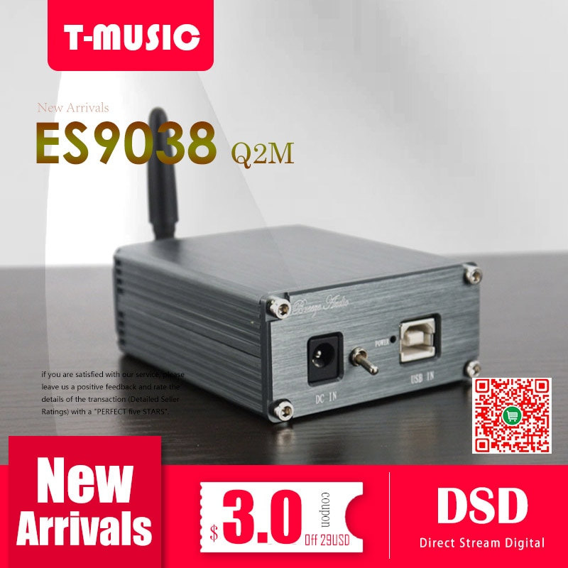 MiNi Bluetooth HiFi 5,0 DAC ES9038Q2M XMOS XU208 Decodificador USB DAC con salida de auriculares de 3,5mm + adaptador de corriente