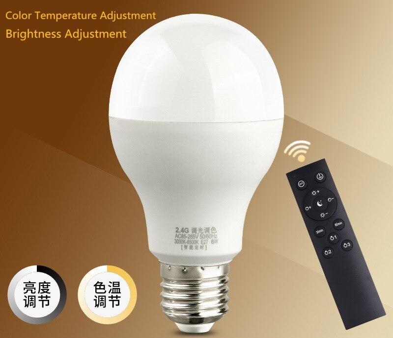 Bombilla LED E27 regulable con control remoto inalámbrico temporizado, atenuación continua, ajuste de brillo, Bombilla de ajuste de temperatura de color