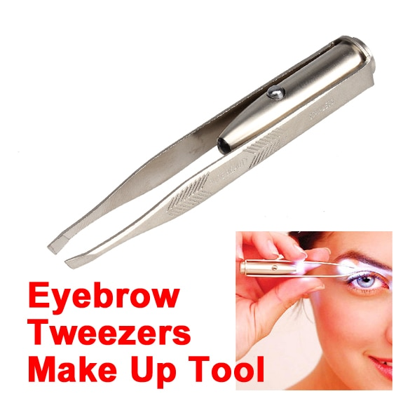 Herramientas de mano superiores, pinzas, accesorios de maquillaje, pinzas de eliminación de vello de cejas con luz LED, pinzas de acero inoxidable, multiherramienta AA
