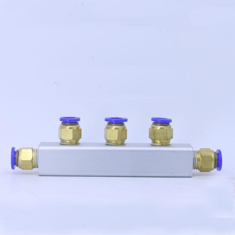 20x20mm Ajuste de empuje 8mm 3 vías 6 Puerto conector neumático múltiple bloque divisor