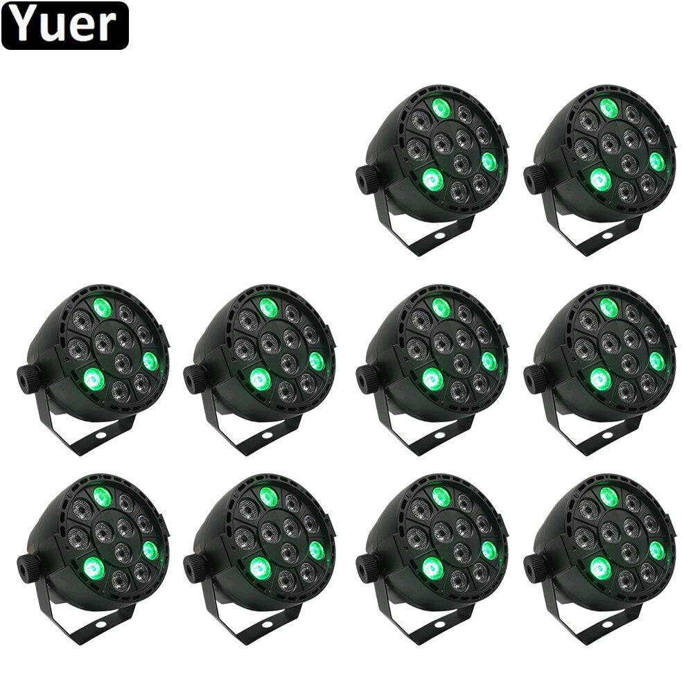 10 шт./лот, сценический свет, 12x3 Вт, плоский LED Par RGBW, DMX512, диско-лампа, KTV бар, подсветка, лазерный луч, проектор, Dmx контроллер, прожекторы
