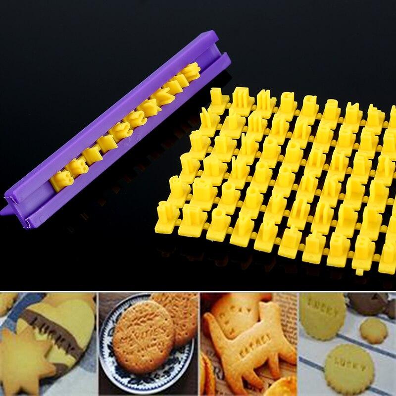 Großhandel Alphabet Brief Anzahl Cookie Presse Stempel Dekorieren Cutter Fondant Form Werkzeuge freies verschiffen küche werkzeuge