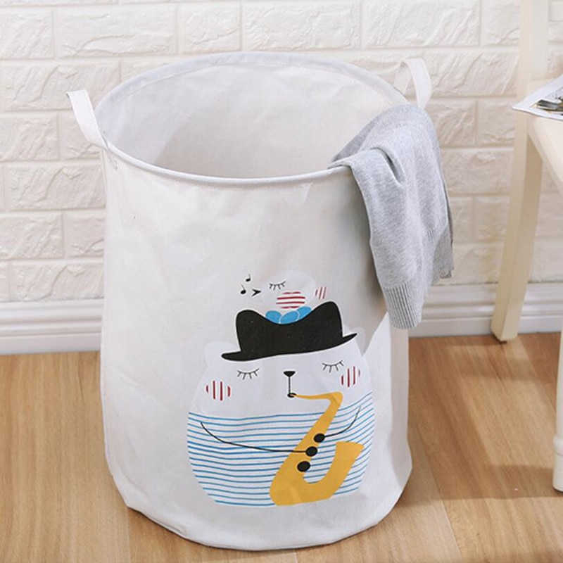 Large Cotton Linen Laundry Basket for Dirty Clothes Waterproof Folding Toy Organizer Storage Bucket Home Storage&Organization