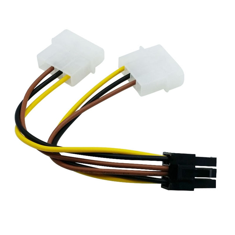 10pcs/lot 2 x Molex 4pin to 6Pin PCI Express Video Card Pci-e ATX PSU Power Converter Cable - Molex to Pcie 6 pin Adapter
