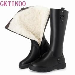 Gktinoo 2020 de alta qualidade natural lã joelho botas altas mulheres couro genuíno zíper simples sapatos lisos inverno quente botas neve