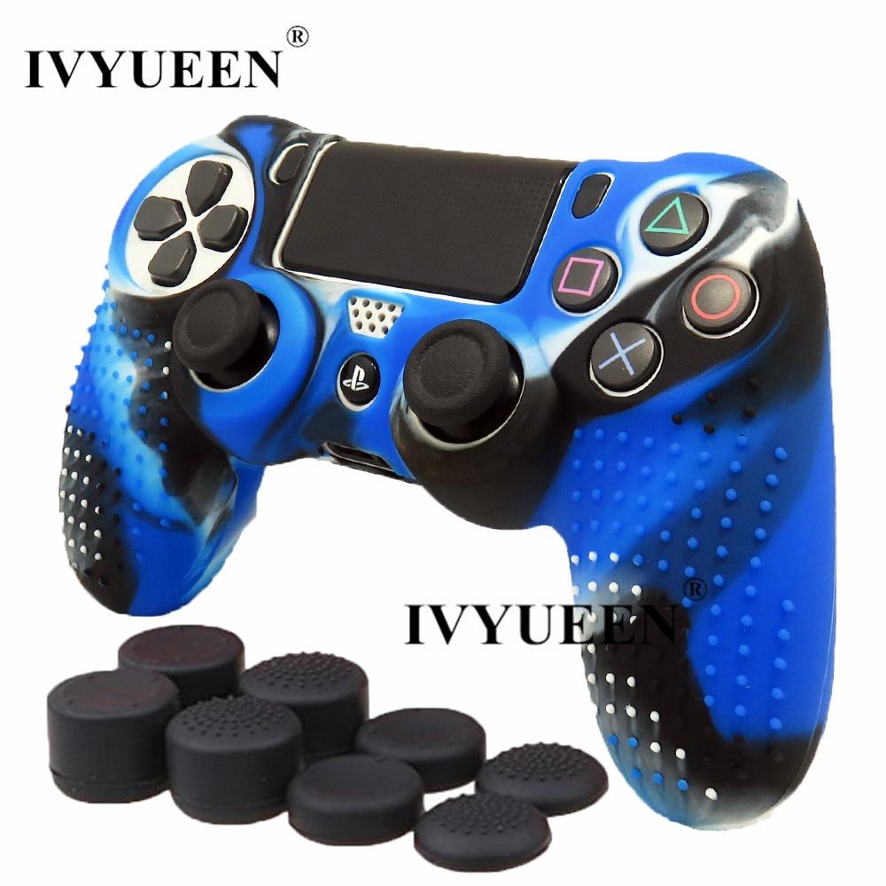 Ivyueen nova versão para sony dualshock 4 ps4 pro controlador fino caso da pele de silicone + miniaturas apertos caps para playstation 4
