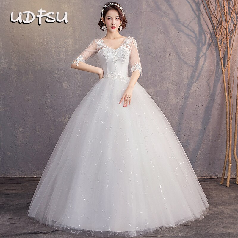 UDFSU-فستان زفاف أميرة نسائي ، نصف كم ، رقبة على شكل v ، أربطة ، ثوب كرة ، ظهر عاري