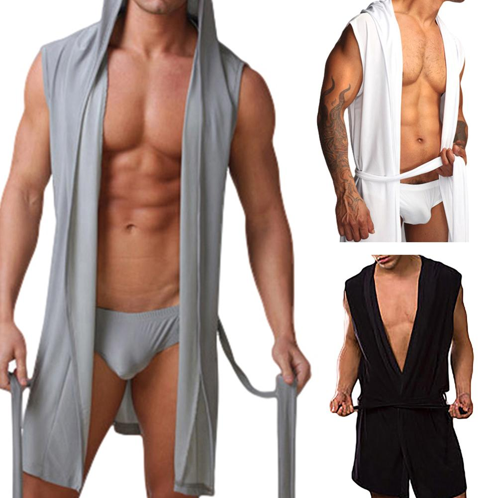 Банные мужские халаты, халат без рукавов с капюшоном