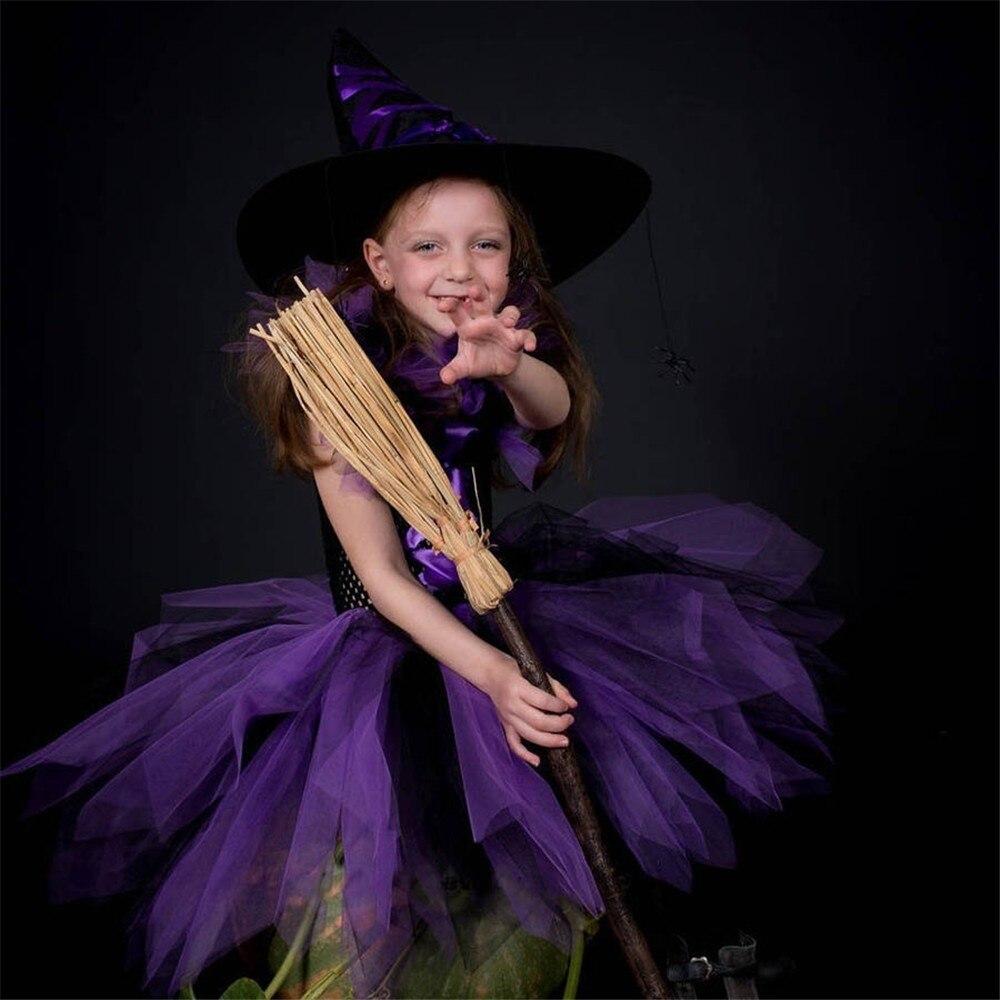 Purple Black Little Witch Girls Tutu Dress Costume for Halloween Children Kids Party Dresses Girls Fancy Clothes Vestido Menina