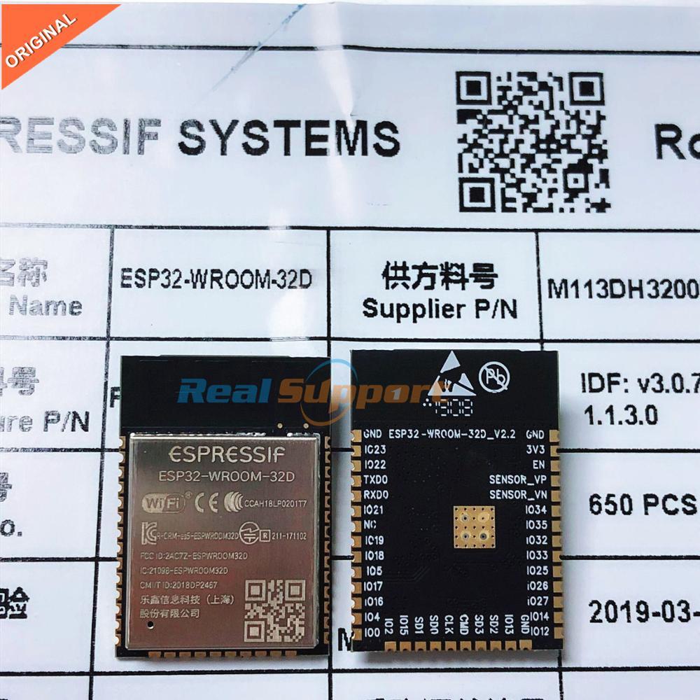 10 Uds. ESP32-WROOM-32D Wi-Fi + BT + BLE ESP32 módulo 32 bits 4MB memoria Flash Espressif Original mejor rendimiento RF