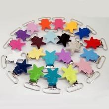 Clips de sucette en métal 20 pièces par lot   clips de sucette en étoile, clips de sucette de couleurs mélangées, clip de support pour bébé